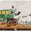 Green wagon with yellow windows, driver in white robe, pulled by 2 white oxen