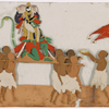 Festival procession, Hanuman/green monkey god figure on litter, with 8 bearers, and 2 others leading, making offerings