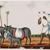 Man carrying bundle, and pack donkeys