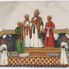 4 aristocrats and 2 servants, standing on dais with ornate rugs