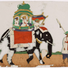 Man in white robe leading elephant with mahouts, green howdah, and 2 passengers
