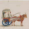 Horse-drawn two-wheeled carriage with blue wheels