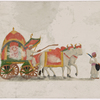 Oxen-drawn green and pink carriage with female passenger, driver and servant