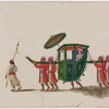 Closed green palanquin with umbrella, male passenger, four bearers in red robes, and one attendant
