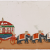 Elabroate red carriage with 5 attendants, drawn by 6 elephants with 6 mahouts