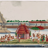 River festival procession of floating green barge with red temple, polers, musicians, aristocrats, attendants, and white temple in background