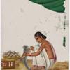 Seated female fishmonger in white sari