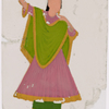 Dancing girl in green skirt and pink scarf, left arm raised