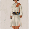 Servant in white shirt, red dhoti, striped belt, and blue hat