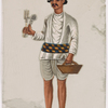 Servant carrying a basket and cutlery, in striped belt and hat