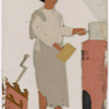Male servant/cook holding pot in front of stove