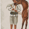 Servant with brown horse in striped belt and hat