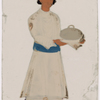 Servant with covered serving dish in striped belt and hat