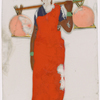 Woman in red sari with two orange bundles on stick over shoulder