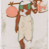 Man in white dhoti with two orange bundles on stick over shoulder
