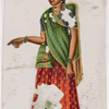 Woman in red and green sari, pointing with right hand