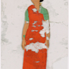 Woman in red sari, arms at sides