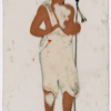 Man in white dhoti, holding spear