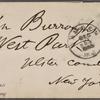 Burroughs, John, ALS to. Dec. 21, 1885.