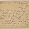 Doyle, Peter, APCS to. Aug. 21, [1874].