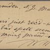 O'Connor, Ellen M., APCS to. Mar. 3, [1874].
