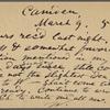 O'Connor, Ellen M., APCS to. Mar. 9, [1874].