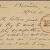 O'Connor, Ellen M., APCS to. Apr. 10, [1874].