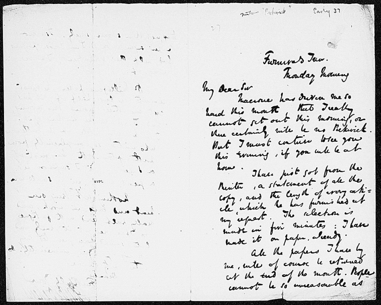 This is What Charles Dickens and Bentley Richard. ALS to [1836 Dec.?] Looked Like  on 12/1836