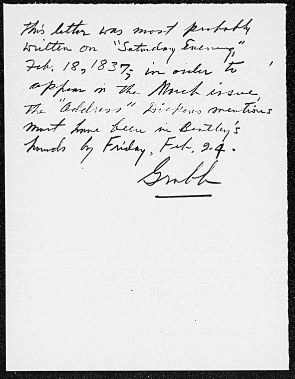 This is What Charles Dickens and Bentley] [Richard]. ALS to [1837 Jan.] or [1837 Feb.] Looked Like  on 1/1837