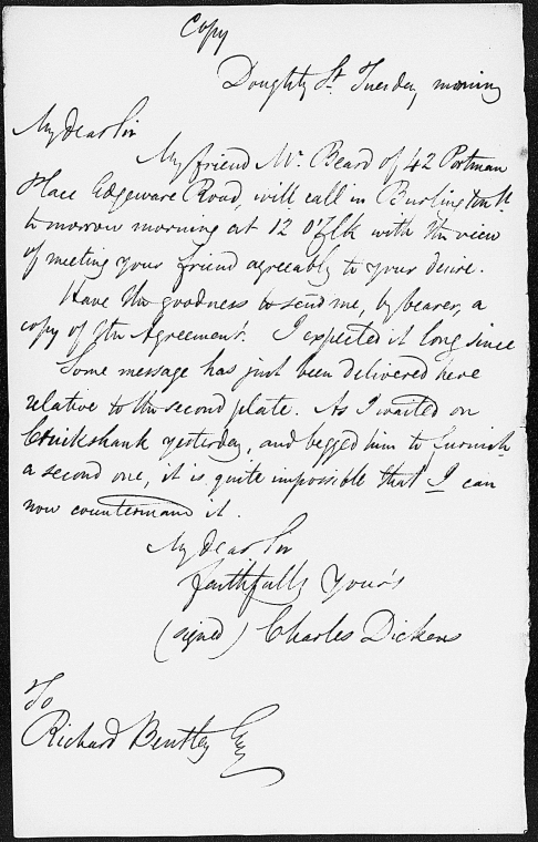 This is What Charles Dickens and Bentley Richard. ALS to [1837 Aug. 15?] Looked Like  on 8/15/1837