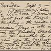 O'Connor, William D., APCS to. Sep. 3, [1882].