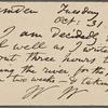 O'Connor, William D., APCS to. Oct. 31, [1882].