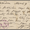O'Connor, William D., APCS to. Mar. 9, [1883].