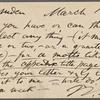 O'Connor, William D., APCS to. Mar. 15, [1883].
