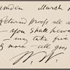 O'Connor, William D., APCS to. Mar. 18, [1883].