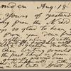 O'Connor, William D., APCS to. Aug. 18, [1886].