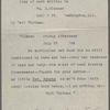 O'Connor, William D., postcard written Jul. 27, 1888. Typed copy.