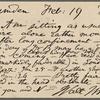O'Connor, William D., APCS to. Feb. 19, 1889.