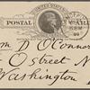 O'Connor, William D., APCS to. Feb. 24, 1889.