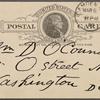 O'Connor, William D., APCS to. Mar. 6, 1889.