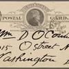 O'Connor, William D., APCS to. Mar. 17, 1889.
