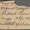 Wilhelm, R. Original crayon portrait of Walt Whitman, signed (RW) and dated.