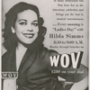 """Advertisement for morning radio program """"Ladies Day,"""" hosted by Hilda Simms, on WOV, New York City, circa 1954."""