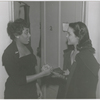 """Actress Hilda Simms (right) meeting soprono Leontyne Price, possibly at the time of Price's appearance as Bess in the opera """"Porgy and Bess,"""" circa 1953."""