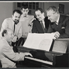 Milton Schafer, Ira Levin, Joe Layton and unidentified others in rehearsal for the stage production Drat the Cat!