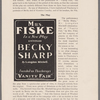 "Mrs. Fiske in a new play entitled Becky Sharp by Langdon Mitchell. Founded on Thackeray's ""Vanity Fair."" Richardson & Foos--Print. N.Y."