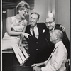 Florence Henderson, Jose Ferrer, producer Herman Levin, and Noel Coward in rehearsal for the stage production The Girl Who Came to Supper