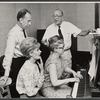 Jose Ferrer, Florence Henderson, rehearsal pianist Martha Johnson, and Noel Coward in rehearsal for the stage production The Girl Who Came to Supper
