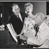 Jose Ferrer, Florence Henderson, and Noel Coward in rehearsal for the stage production The Girl Who Came to Supper