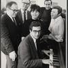 Book writer Ernest Kinoy, producer Joseph P. Harris, Eydie Gorme, unidentified man, Steve Lawrence, and composer Walter Marks in rehearsal for the stage production Golden Rainbow